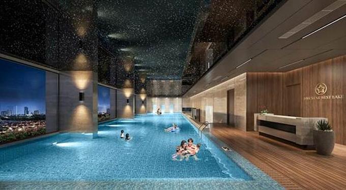 Bể bơi nước mặn bốn mùa trong dự án.